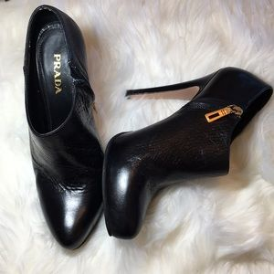 Prada Black Leather Pointy Toe Ankle Booties